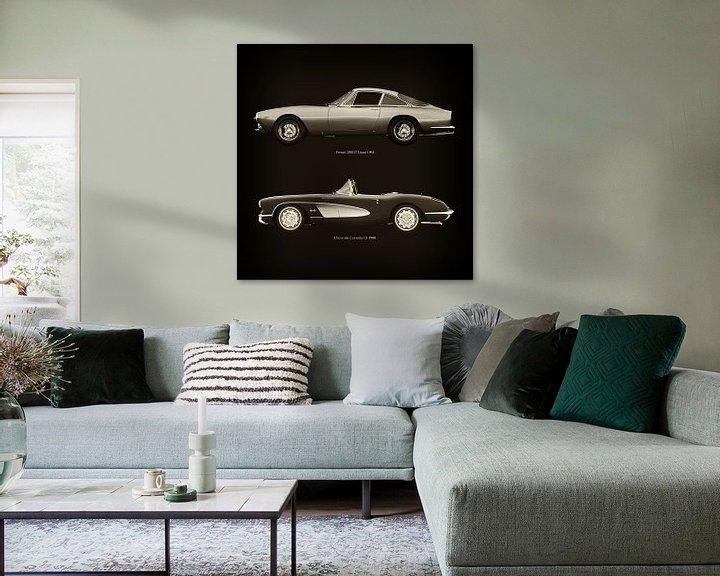 Sfeerimpressie: Ferrari 250GT Lusso 1963 en Chevrolet Corvette C1 1960 van Jan Keteleer