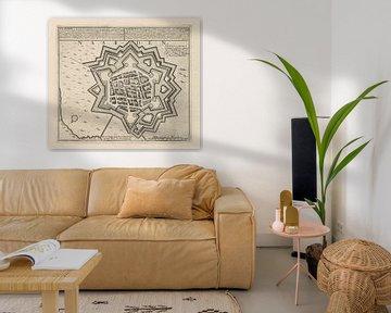 Oude kaart van Naarden van omstreeks 1720 van Gert Hilbink