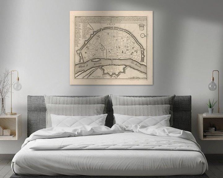 Sfeerimpressie: Oude kaart van Keulen van omstreeks 1720 van Gert Hilbink
