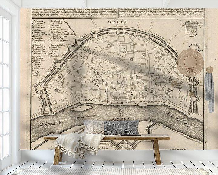Sfeerimpressie behang: Oude kaart van Keulen van omstreeks 1720 van Gert Hilbink