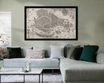 Oude kaart van Venetië van omstreeks 1650 van Gert Hilbink