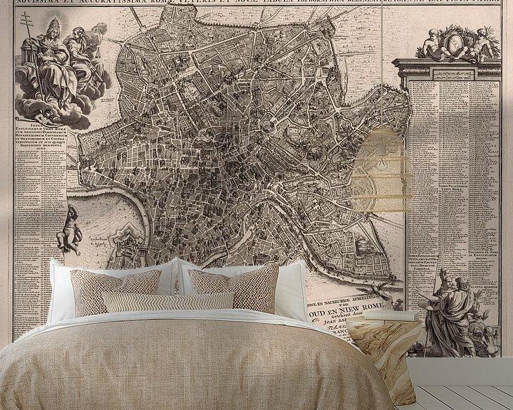 Sfeerimpressie behang: Oude kaart van Rome van omstreeks 1695 van Gert Hilbink