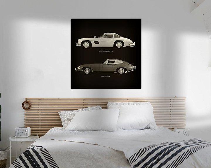 Sfeerimpressie: Mercedes 300SL Gullwing 1954 en Jaguar E Type 1960 van Jan Keteleer