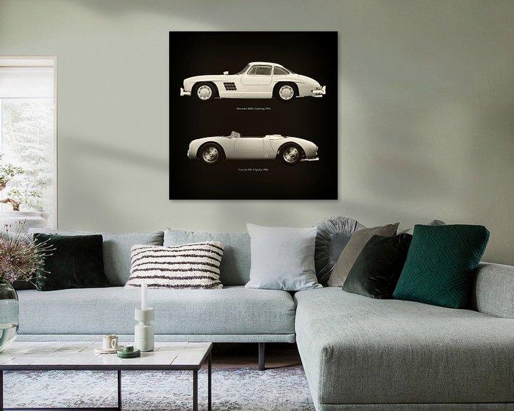 Sfeerimpressie: Mercedes 300SL Gullwing 1954 en Porsche 550-A Spyder 1956 van Jan Keteleer