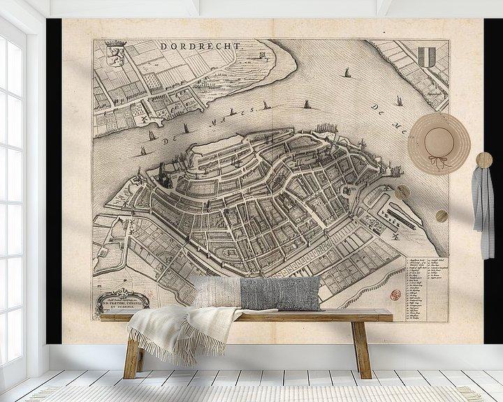 Beispiel fototapete: Alte Karte von Dordrecht aus der Zeit um 1652 von Gert Hilbink