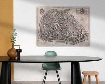 Oude kaart van Schiedam van omstreeks 1600. van Gert Hilbink