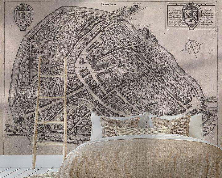 Impression: Ancienne carte de Schiedam datant d'environ 1600. sur Gert Hilbink