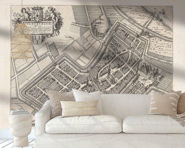 Impression: Ancienne carte de Culemborg datant d'environ 1652. sur Gert Hilbink