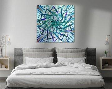 Stern-Mandala, blau von Rietje Bulthuis