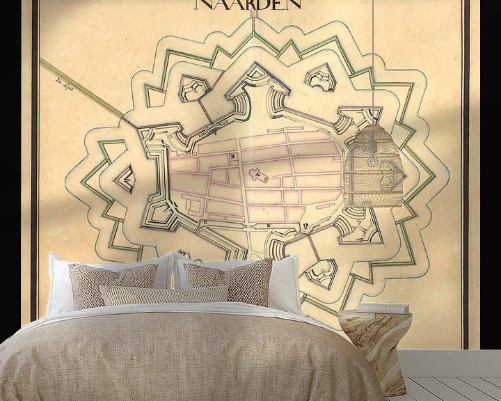 Sfeerimpressie behang: Oude kaart van de vesting Naarden van omstreeks 1715. van Gert Hilbink