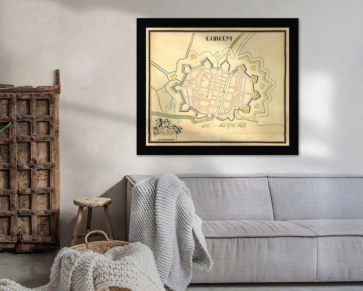 Impression: Ancien plan de la ville de Gorinchem datant d'environ 1652. sur Gert Hilbink