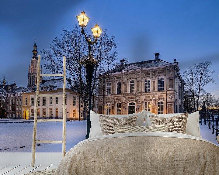 Sfeerimpressie behang: Besneeuwd Kasteelplein Breda van JPWFoto