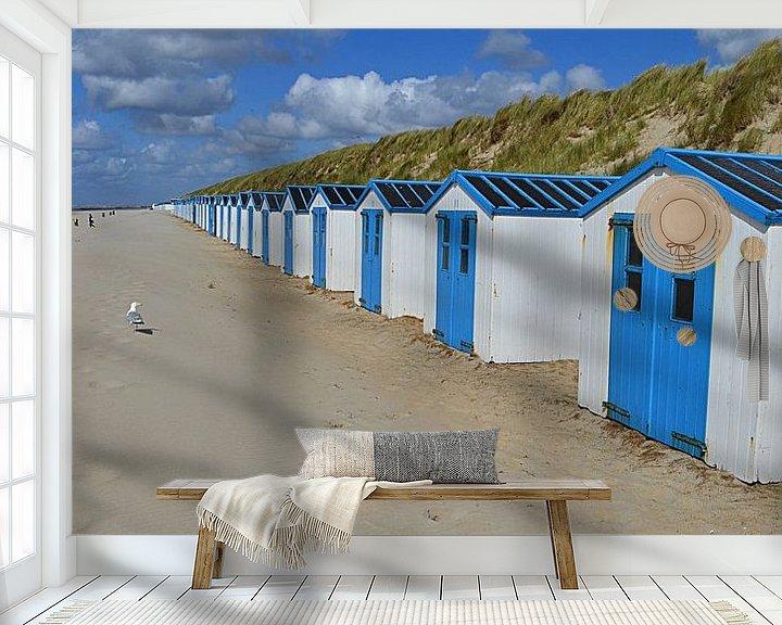 Sfeerimpressie behang: Strandhuisjes in De Koog op Texel van JTravel
