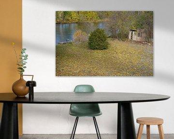 Herfst aan de Saale in Halle Saale in Duitsland van Babetts Bildergalerie