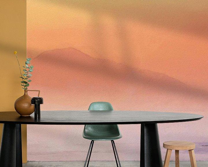 Sfeerimpressie behang: Italië Golf van Napels Vesuvius van Schildersatelier van der Ven