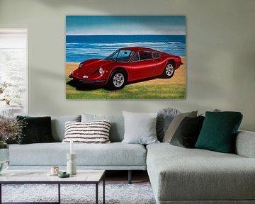 Peinture de la Ferrari Dino 246 GT 1969 sur Paul Meijering