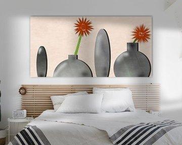 Vier Vasen mit Gerbera von Christine Bässler