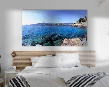 Italien - Schwimmen im Meer während des Sonnenuntergangs im Golf von Tigullio von Schildersatelier van der Ven