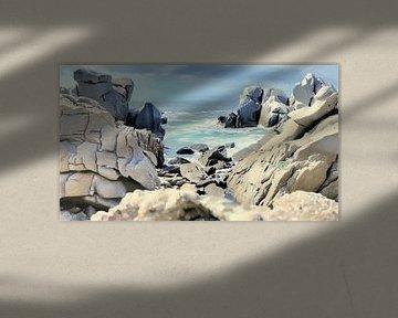 Felsenküste mit Aussicht - Sardinien - Capo Testa - Gemälde von Schildersatelier van der Ven