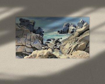 Rotsachtige Kust met Uitzicht - Sardinië - Capo Testa - Schilderij