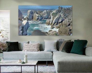 Landschap van Kust met Rotsen - Sardinië - Capo Testa - Schilderij