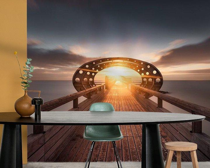 Sfeerimpressie behang: Zonsopgang op de pier van Kellenhusen aan de Oostzee van Voss Fine Art Fotografie