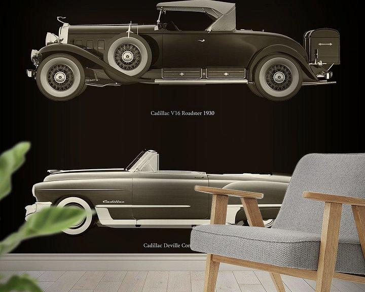 Sfeerimpressie behang: Cadillac V16 Roadster 1930 en Cadillac Deville Convertible 1948 van Jan Keteleer
