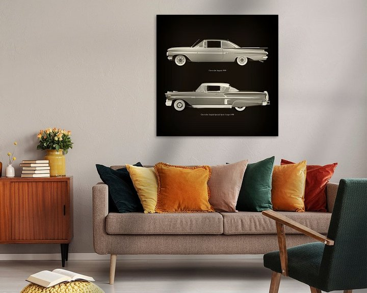 Sfeerimpressie: Chevrolet Impala 1959 en Chevrolet Impala Special Sport Coupe 1958 van Jan Keteleer