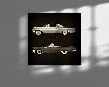 Chevrolet Impala 1959 en Ford Thunderbird Cabriolet 1957