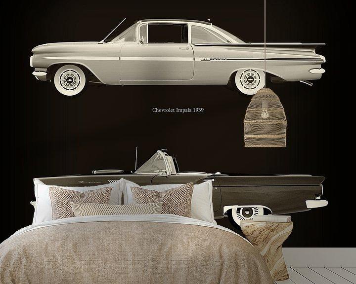 Sfeerimpressie behang: Chevrolet Impala 1959 en Ford Thunderbird Cabriolet 1957 van Jan Keteleer