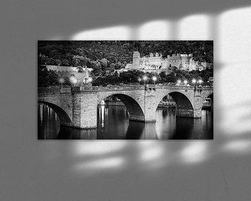 Heidelberger Schloss in schwarz-weiß
