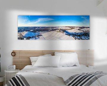 Luchtfoto Stuttgart met de grafkapel in de winter van Werner Dieterich
