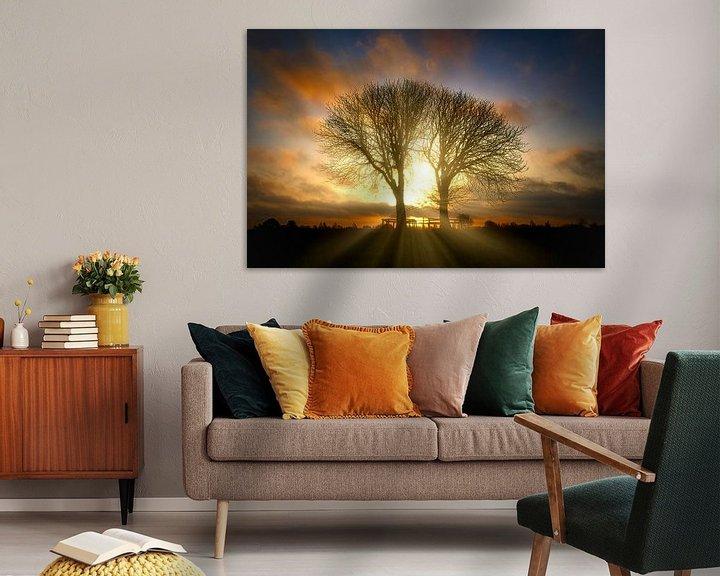 Beispiel: Sonnenaufgang Bäume im Naturschutzgebiet Lentevreugd von Wim van Beelen