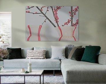 Zwei Vasen mit roten Beeren auf Zweigen - Bleistift von tolitoy creations