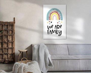 We are family mit Regenbogen und Herzen