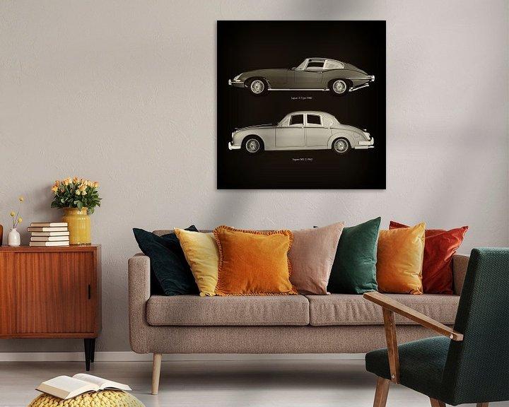 Sfeerimpressie: Jaguar E Type 1960 en Jaguar MK-2 1963 van Jan Keteleer