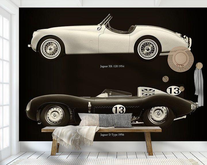 Sfeerimpressie behang: Jaguar XK-120 1954 en Jaguar D Type 1956 van Jan Keteleer