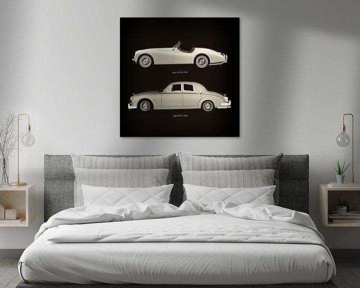Sfeerimpressie: Jaguar XK-120 1954 en Jaguar MK-2 1963 van Jan Keteleer