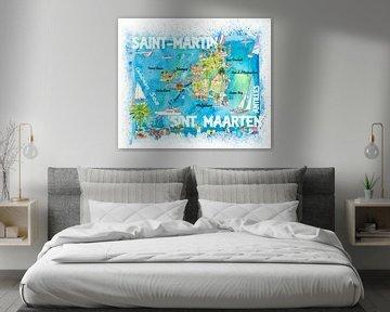 Saint-Martin Sint Maarten Antillen Illustrierte Karibik Reisekarte mit Highlights der Westindischen  von Markus Bleichner