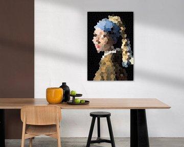Meisje met de parel / Girl with a Pearl Earring Abstract van Art By Dominic