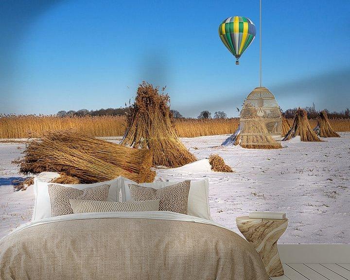 Beispiel fototapete: Naturpark der Weeribben und Heißluftballon von Coby Bergsma