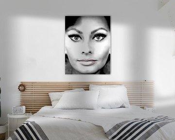 Sophia Loren italienische Schauspielerin schwarz und weiß von sarp demirel