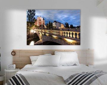 Tromostovje Ljubljana (drie bruggen) van Dennis Eckert