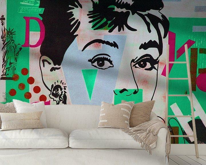 """Beispiel fototapete: Audrey Hepburn """"NYC"""" von Kathleen Artist Fine Art"""