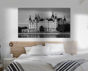 Das Schweriner Schloss in schwarz-weiß