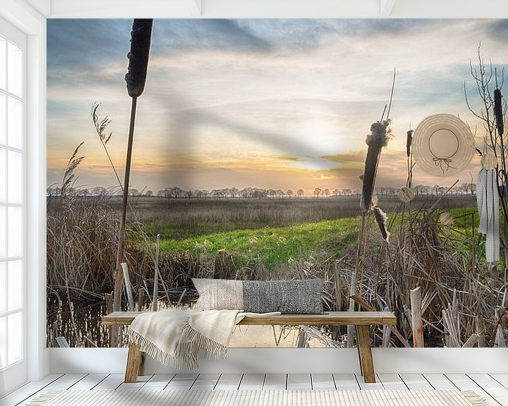 Sfeerimpressie behang: Zonsondergang in Nederland van Mark Bolijn