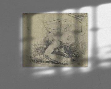 Mann auf dem Boden liegend und die Ecke eines Bettes, Jean-Baptiste Deshays, 1758-1765 von Atelier Liesjes