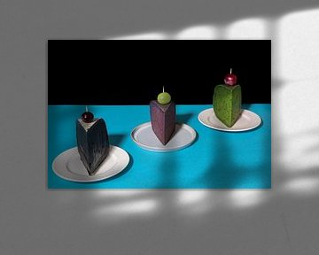 Käsekuchen? Pop-Art inspiriertes Stillleben mit Käse l Lebensmittelfotografie von Lizzy Komen