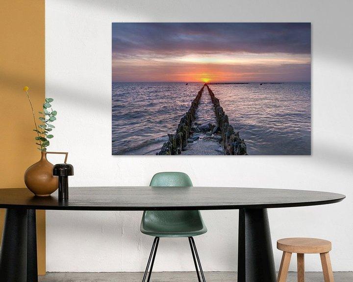 Impression: Coucher de soleil à l'IJsselmeer près de Hindeloopen sur Fotografie Ronald