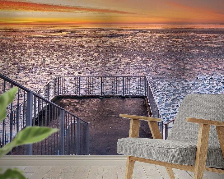 Sfeerimpressie behang: Winters uitzicht op het IJsselmeer van Fotografiecor .nl